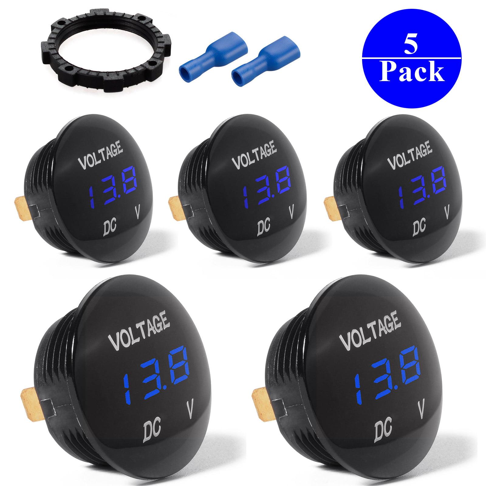 5-pack DC 12V-24V LED Panel Digital Voltage Meter Display Voltmeter For Automotive Car Motorbike Boat ATV UTV Camper Caravans Travel Trailer BLUE