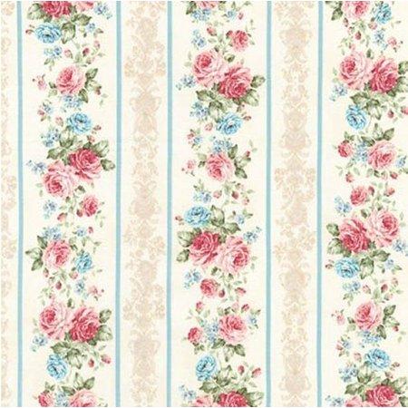 Stripe Quilt Fabric - Anna~ Small Rose Bouquets Blue Stripe Border - Kaufman Cotton Fabric