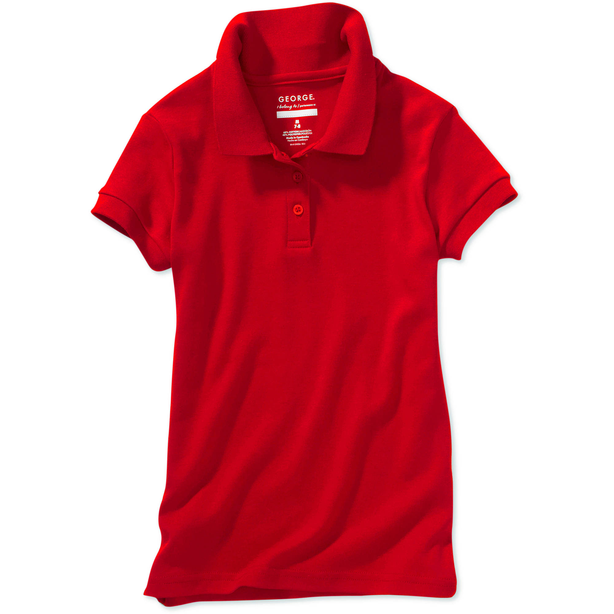 George Girls' School Uniform Short Sleeve Polo Shirt with Scotchgard