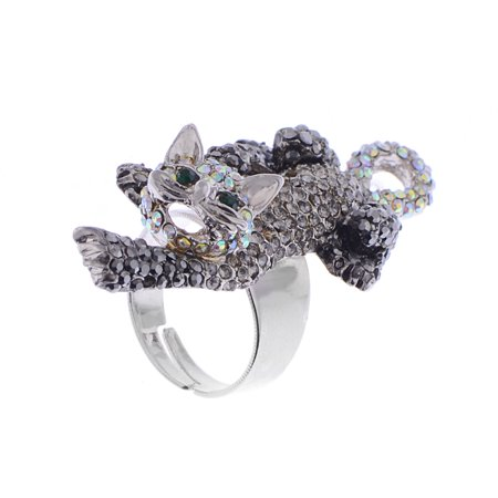 Womens Rhinestone Exquisite Animal Little Tiger Cat Kitty Ring Birthday Gifts for Girls (Little Rings For Girls)