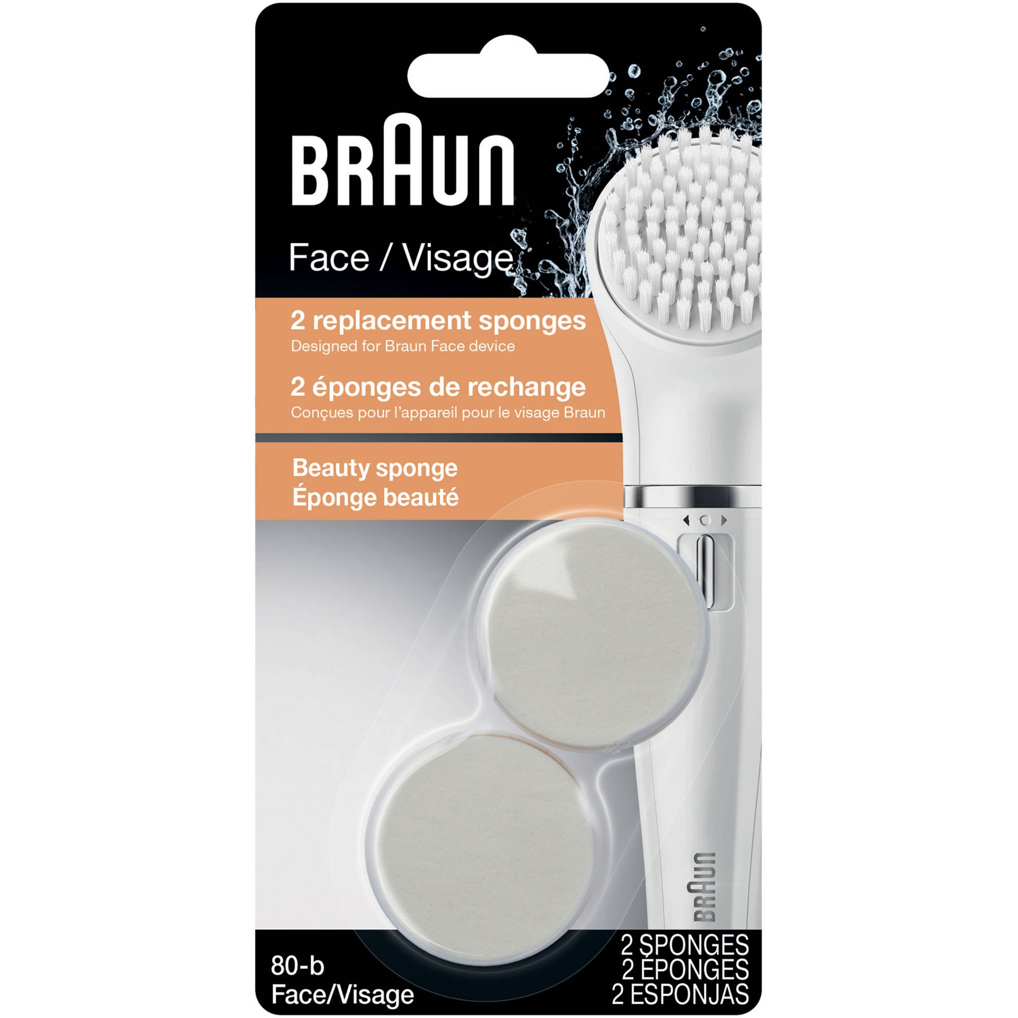 Braun Face 80-b Beauty Sponge Replacement Brushes, 2 count