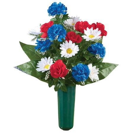 Patriotic Veterans Flowers Bouquet Cemetery Grave In Memorial Flower