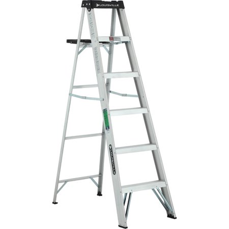 (Louisville Ladder 6 ft. Lightweight Aluminum Step Ladder, Type II, 225 Lbs Load Capacity, W-2213-06S)