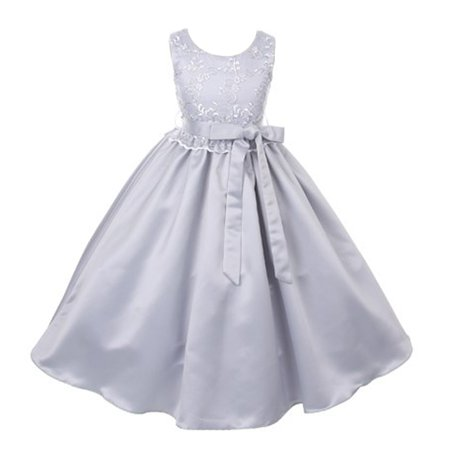 Good Girl Girls Silver Lace Overlay Satin Sash Junior Bridesmaid Dress - Girls Silver Dresses