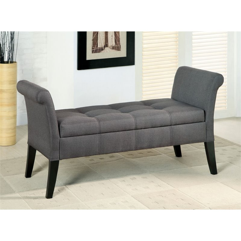 Bowery Hill Upholstered Storage Bench in Gray