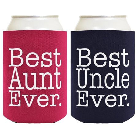Best Aunt and Uncle Ever Gift Set 2 Pack Can Coolies Drink Coolers Magenta and (Best 8 Pack Abs Ever)