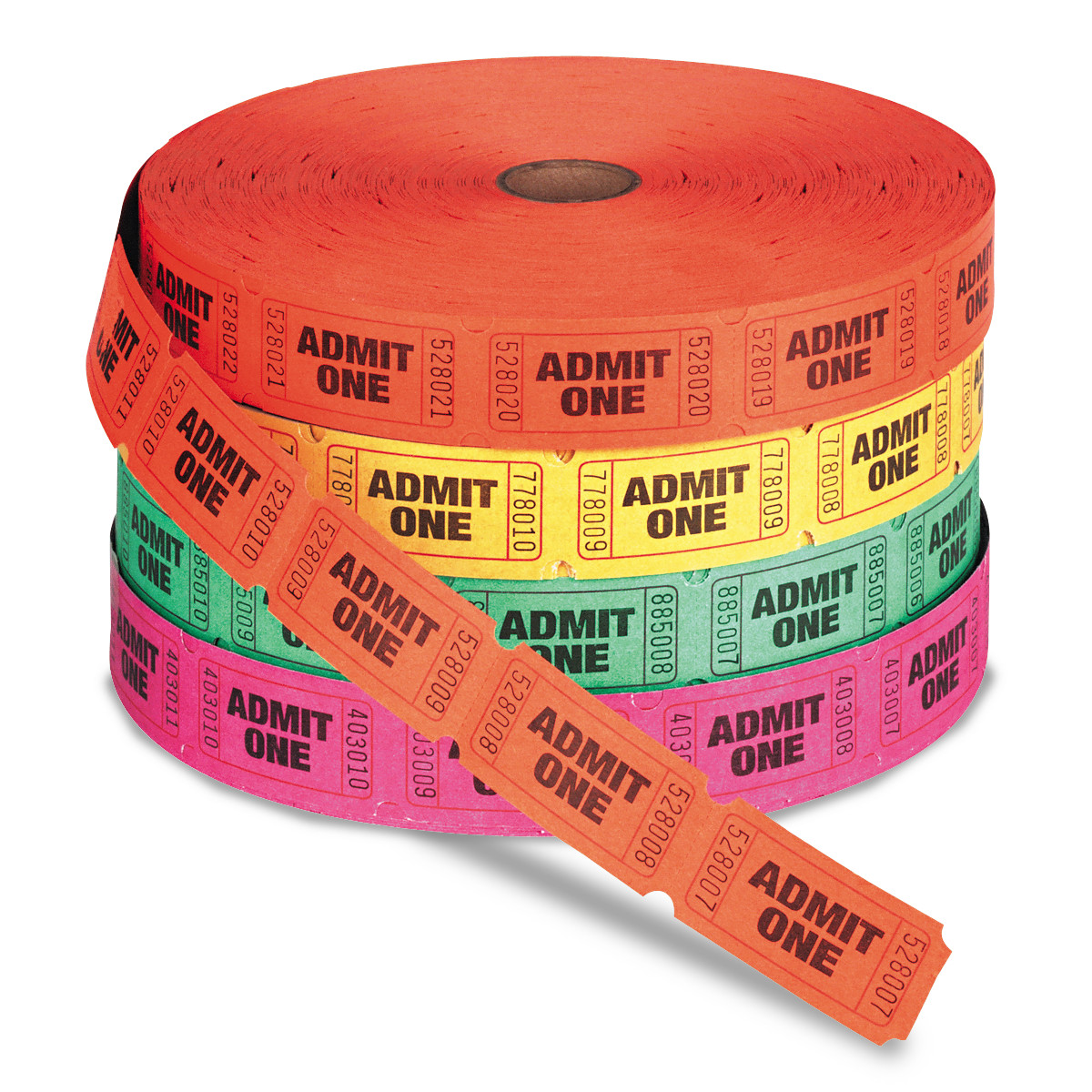 PM Company Admit One Single Ticket Roll, Numbered, Assorted, 2000 Tickets/Roll -PMC59002