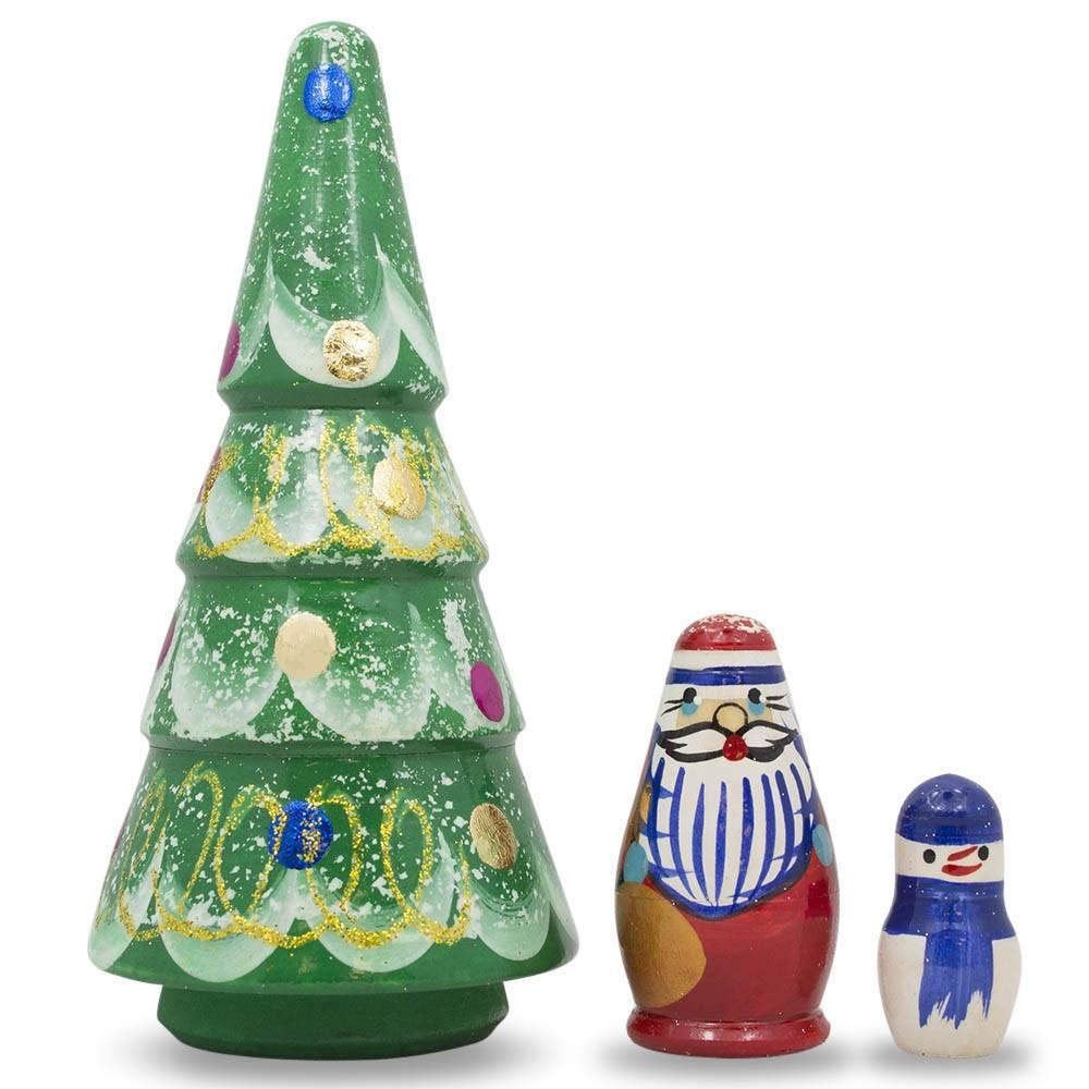 "5"" Set of Christmas Tree, Santa and Snowman Wooden Russian Nesting Doll Figurines"