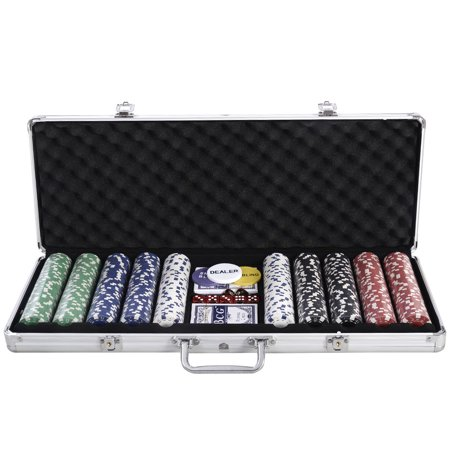 Costway New 500 Chips Poker Dice Chip Set Texas Hold'em Cards W/ Silver Aluminum Case for $<!---->