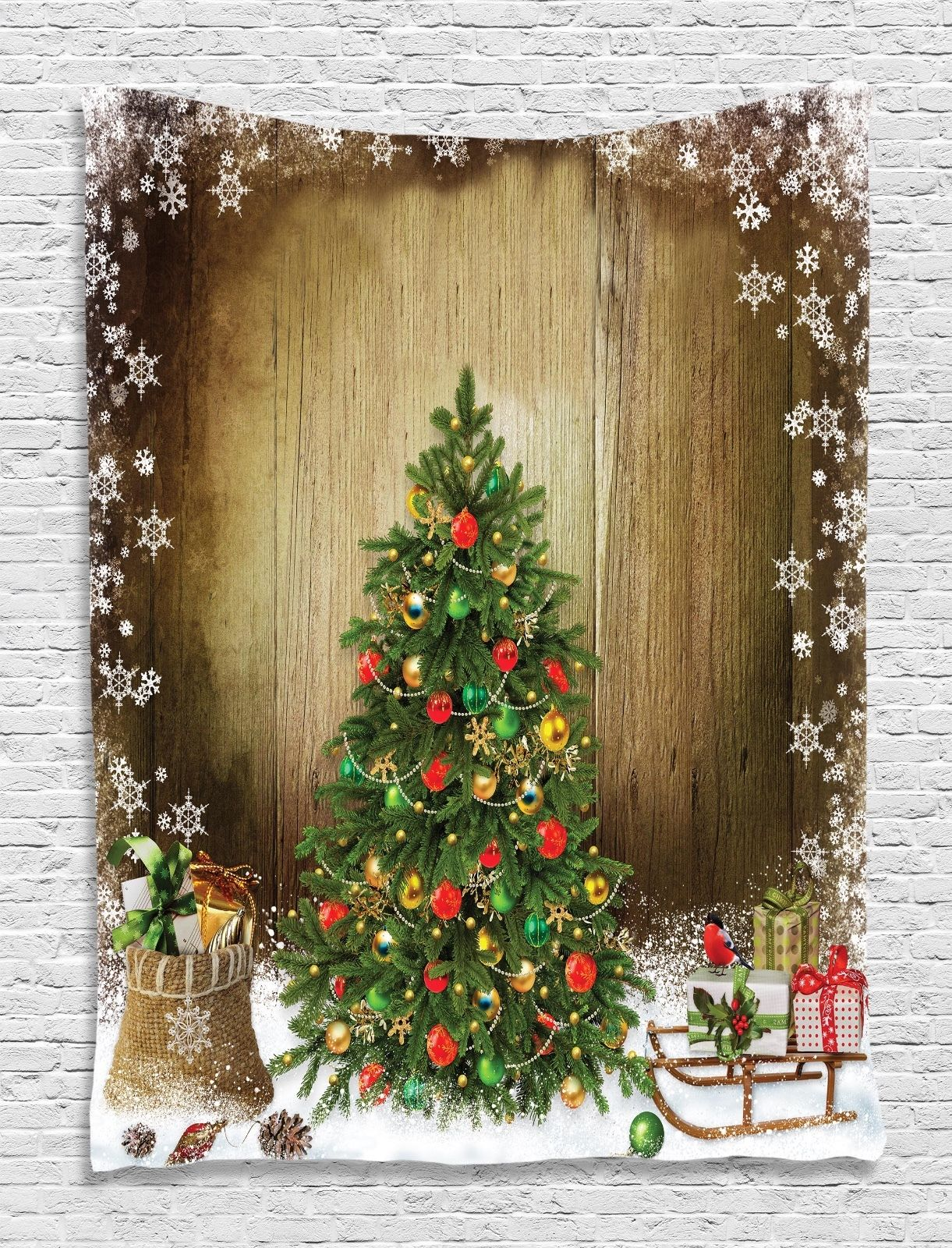 Christmas Tree Snow Flakes Tapestry Wall Hanging for Living Room Bedroom Dorm by Kozmos