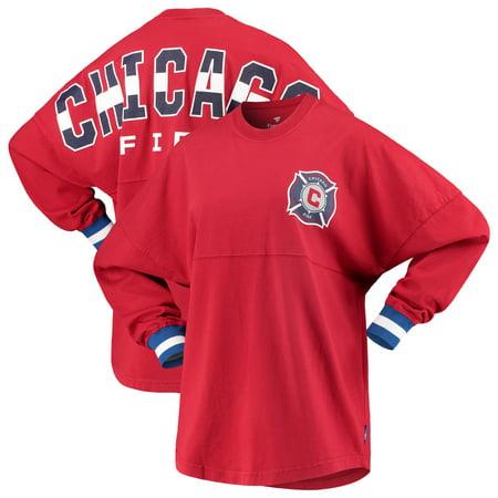 Chicago Fire Fanatics Branded Women's Cuffed Spirit Jersey Long Sleeve T-Shirt- Red Fire Long Sleeve Jersey