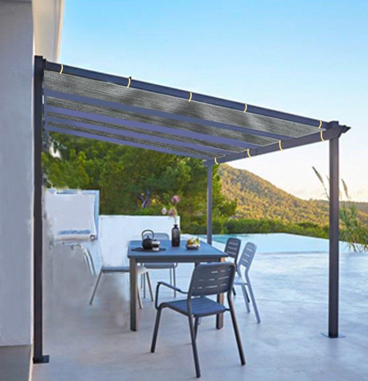 Shatex Outdoor Shade Cloth Reinforce The Edge with Ready-tie Ribbons for Pergola 6x8ft Grey