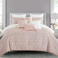 Unique Home 7 Piece Juhi Comforter Set Pink Star Bed In a Bag Clearance Bedding Comforter Duvet, Fade Resistance, Super Soft (King, Pink)