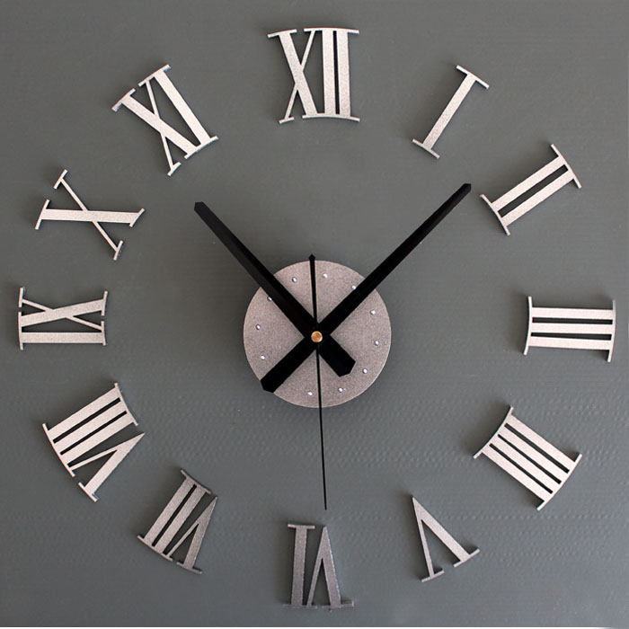 1PCS DIY Luxury 3D Wall Clock Large Size Home Decoration Art Clock Silver by