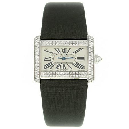 Cartier Tank Mini Divan WA301236 White Gold Original Diamonds Quartz Watch ()