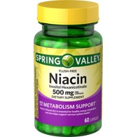 Spring Valley Niacin Capsules, 500 mg, 60 Count