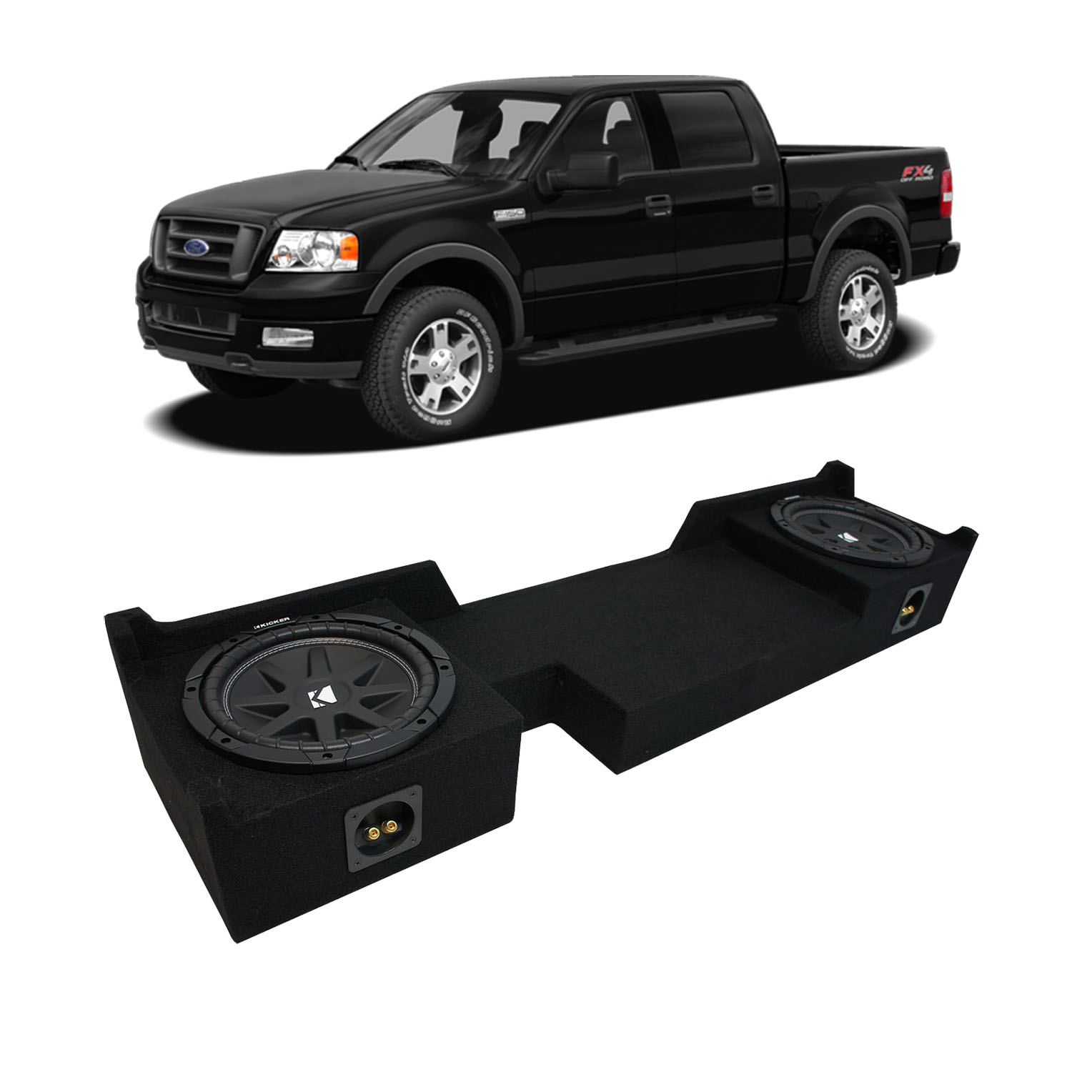 "2004-2008 Ford F-150 Super Crew Truck Kicker Comp C10 Dual 10"" Sub Box 2 Ohm"