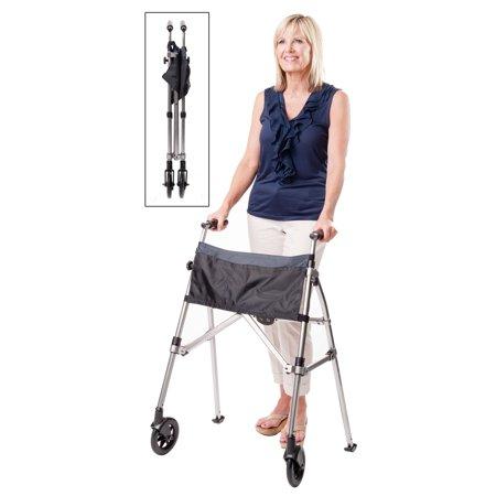 Stander EZ Fold N Go Walker- Height Adjustable Lightweight Travel Walker - Black Walnut 7.5 lbs