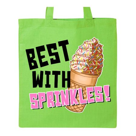 Best with Sprinkles Ice Cream Twist Cone Tote Bag Lime Green One