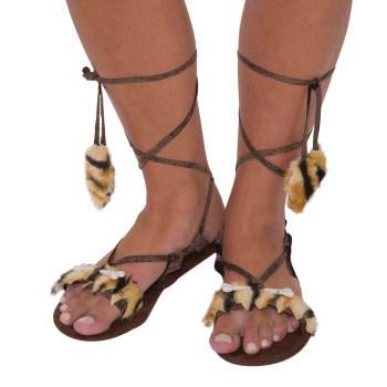 Womens Stone Age Style Sandals Halloween Costume Accessory - Stone Age Accessories