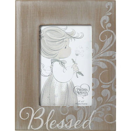 - Precious Moments Blessed Rustic Farmhouse Distressed 4x6 Wood-Like Photo Frame 173406