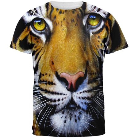 Siberian Tiger Snap (Siberian Tiger Face All Over Adult T-Shirt )