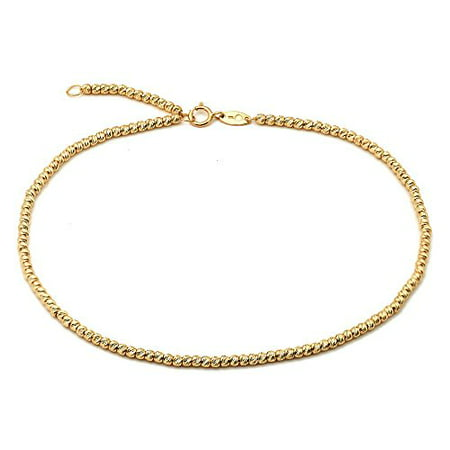 LOVEBLING 10K Yellow Gold 2mm Diamond Cut Moon Chain Anklet Adjustable 9