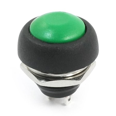12mm Thread SPST OFF/ON Momentary Green Round Head Plastic Push Button Switch - image 2 of 2