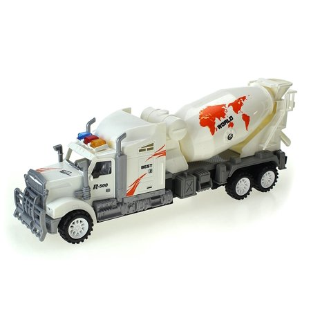 Max Truck Car Friction Powered Toy Mixer Truck w/ Rotating Cement Barrel. No Batteries - Mixer Truck
