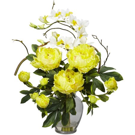Nearly Natural Peony and Orchid Silk Flower Arrangement, Yellow This exquisite Peony and Dendrobium arrangement projects a perfect harmony of color and design. The bright, tasteful and colorful weaving of different textures and flower types creates a splendor that's simply not found in a single species. The flower arrangement is set in a glass vase with liquid illusion faux water. It will make the perfect addition to any home or office, and will also make a great gift.