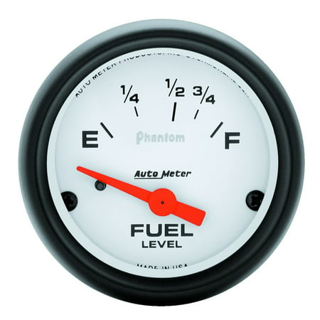 AutoMeter 5718 Phantom Electric Fuel Level Gauge; 2-1/16 in.; White Dial Face; Fluorescent Red Pointer; White Incandescent Lighting; Electric Air-Core; 16 Ohms Empty /158 Ohms - Autometer Air Fuel Ratio Gauge