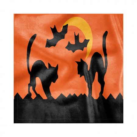 Ideas For Halloween Dinners (Halloween Napkins Set of 4, Crescent Cats and Bats Silhouette Mystic Concept, Silky Satin Fabric for Brunch Dinner Buffet Party, by)