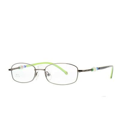999844cec8 Eye Buy Express Kids Childrens Reading Glasses Oval Rectangular Gunmetal  Green Stainless Steel Anti Glare grade d5342