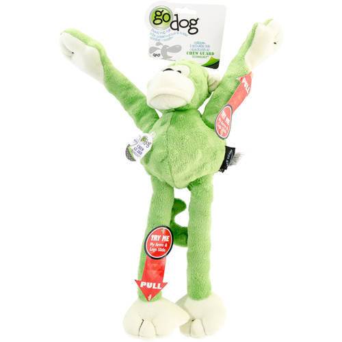 goDog® Crazy Tugs™ Monkeys with Chew Guard Technology™ Plush Squeaker Dog Toy, Large, Green