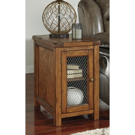 Bowery Hill Chair Side End Table With Mesh Door In Medium Brown