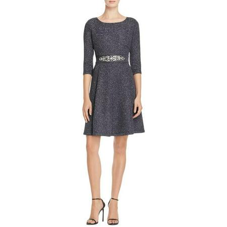 Eliza J Womens Glitter Jeweled Belt Cocktail Dress Gray (Jeweled Cocktail)