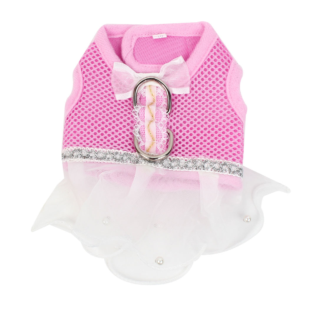 Pet Dog Yorkie Bowtie Detail Meshy Design Clothes Dress Skirt Pink White XXS