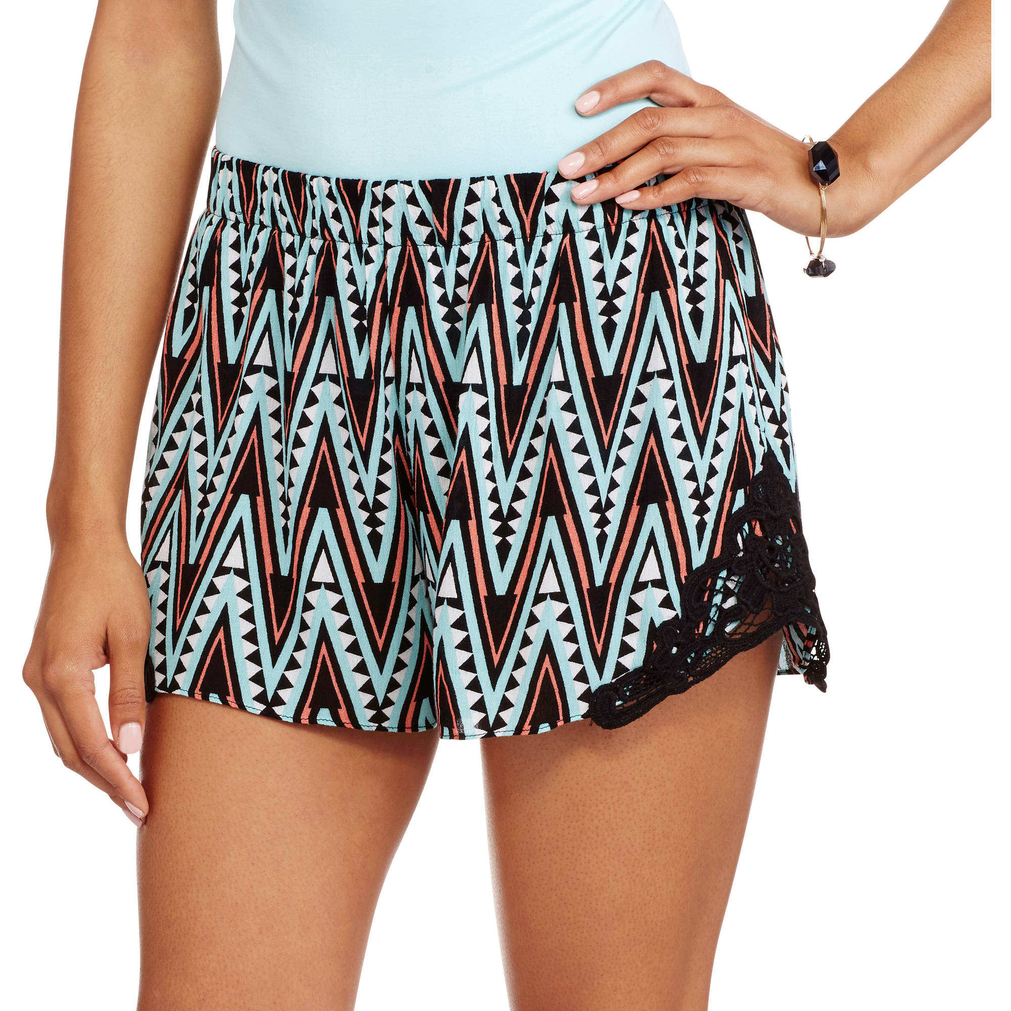 No Boundaries Juniors Side Crochet Trim Soft Gauze Shorts
