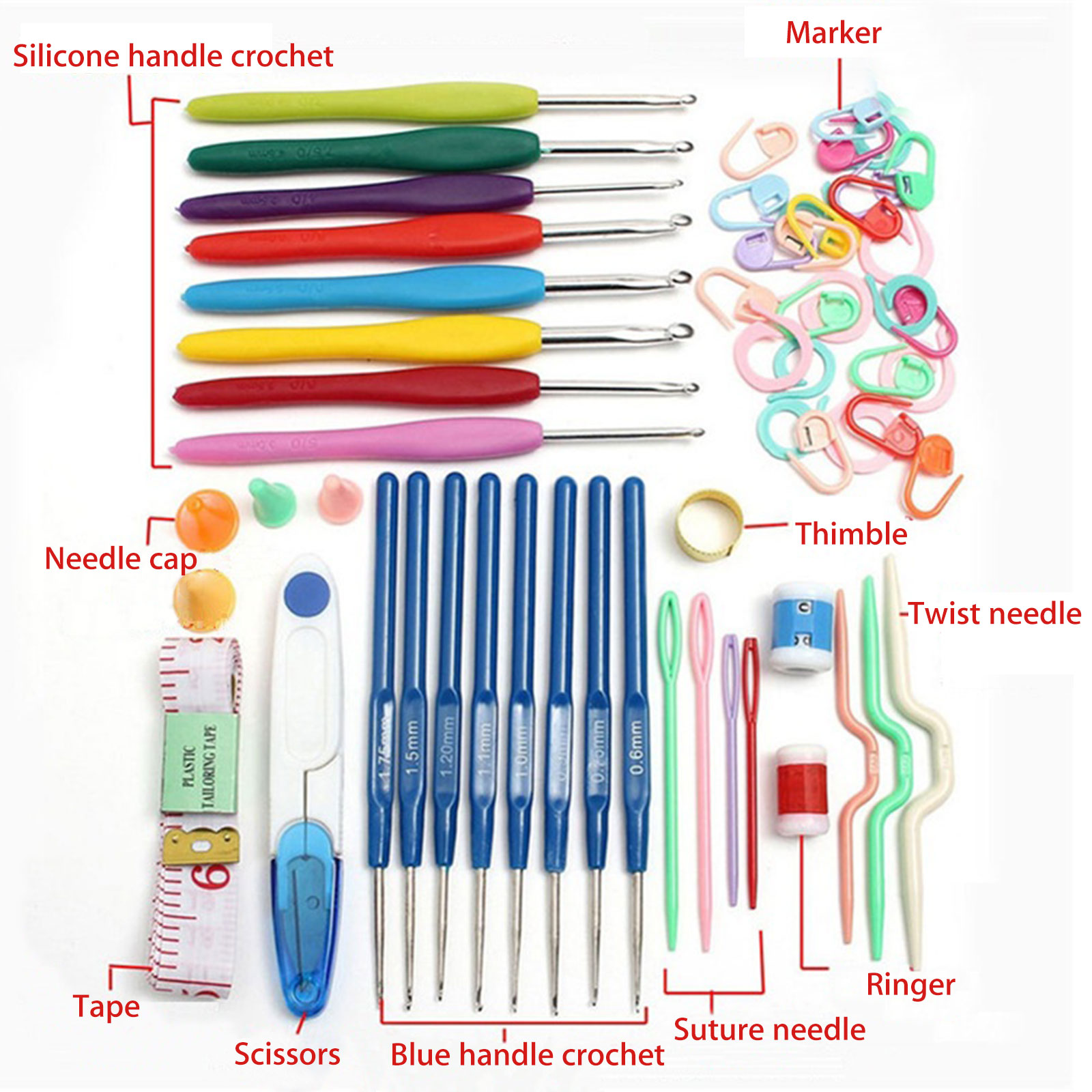 53Pcs Crochet Hooks Knitting Needles Knit Weave Craft Kit Sewing Grip Yarn J9X7