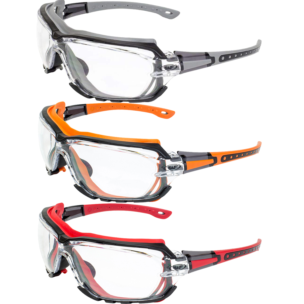 Global Vision 3 Pairs Octane Safety Glasses Grey Orange and Red Gaskets Clear Lens