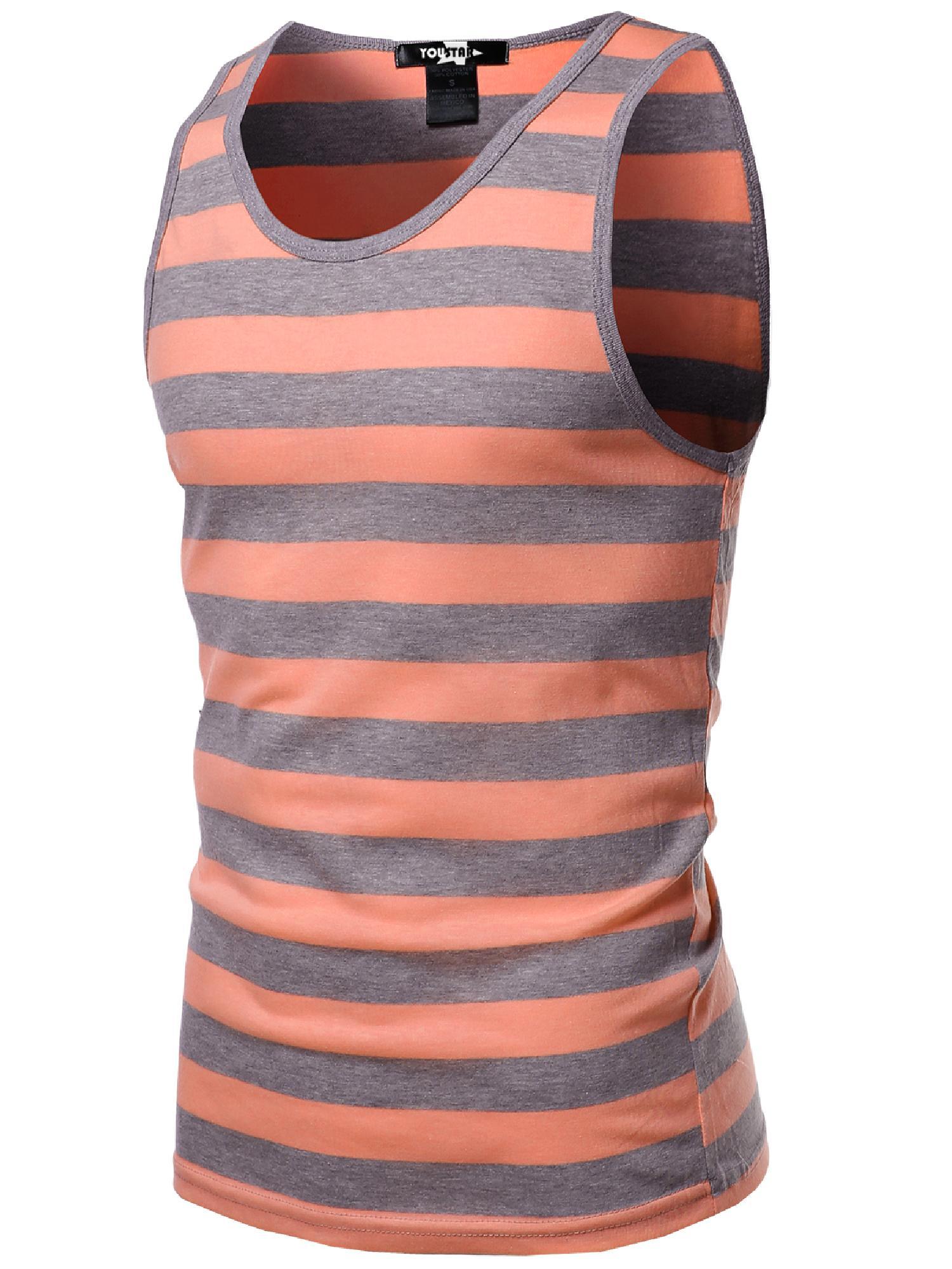 FashionOutfit Men's Basic Round Neck Neon Color Wide Stripe Tank Tops