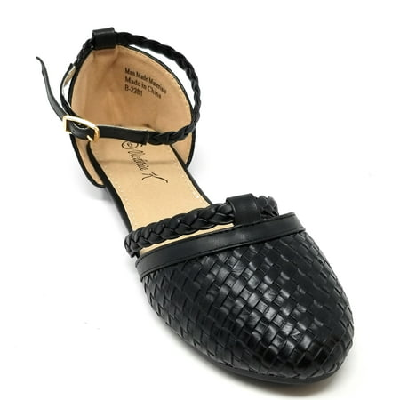 Women Ballerina Ballet Flats SlipOn Braided Loafers Shoes /w Ankle Strap