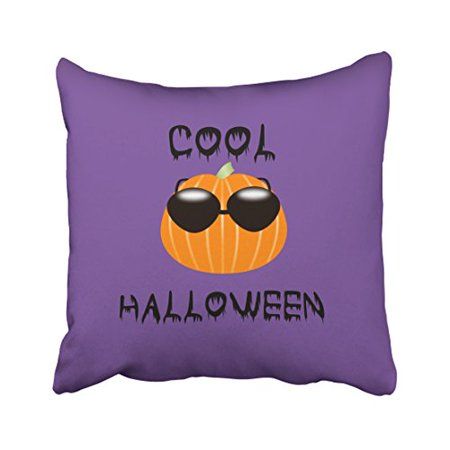 WinHome Cool Funny Halloween Pumpkin Cute Purple Simple Pattern Polyester 18 x 18 Inch Square Throw Pillow Covers With Hidden Zipper Home Sofa Cushion Decorative Pillowcases - Cool Halloween Cover Photos