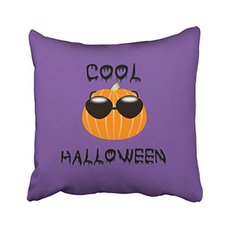 WinHome Cool Funny Halloween Pumpkin Cute Purple Simple Pattern Polyester 18 x 18 Inch Square Throw Pillow Covers With Hidden Zipper Home Sofa Cushion Decorative Pillowcases