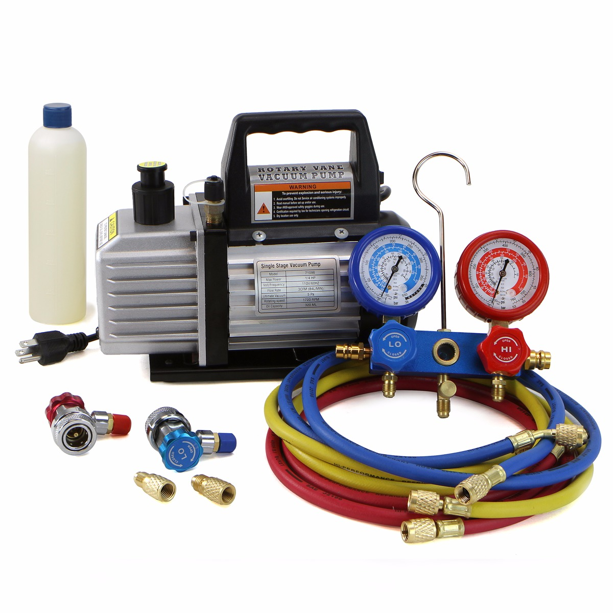 XtremepowerUS 3CFM Vacuum Pump with Manifold Gauge Combo ...