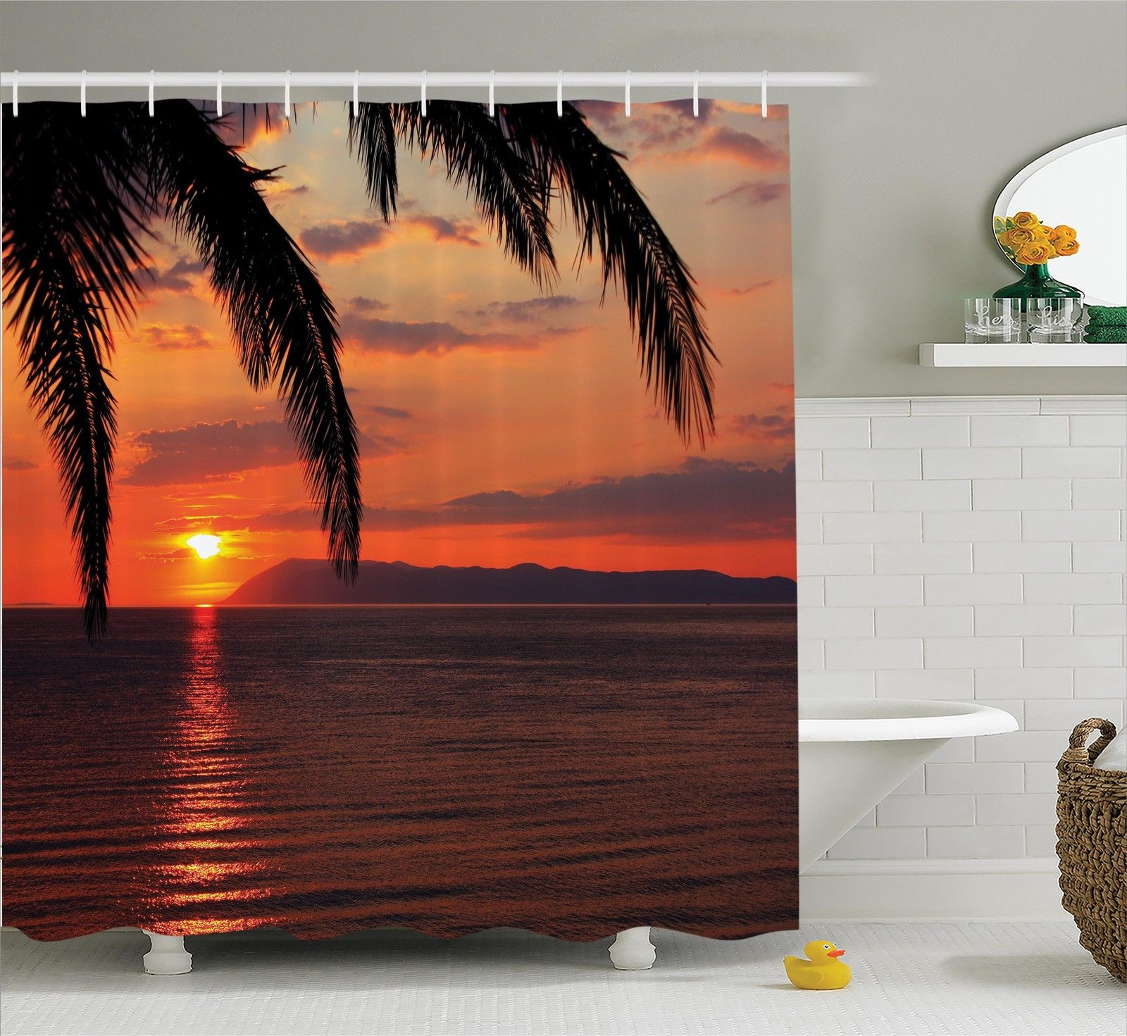 Palm Trees Exotic Holiday Honeymoon Romantic Beach Scenery Shower Curtain Set