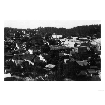Aerial View of the City - Grass Valley, CA Print Wall Art By Lantern
