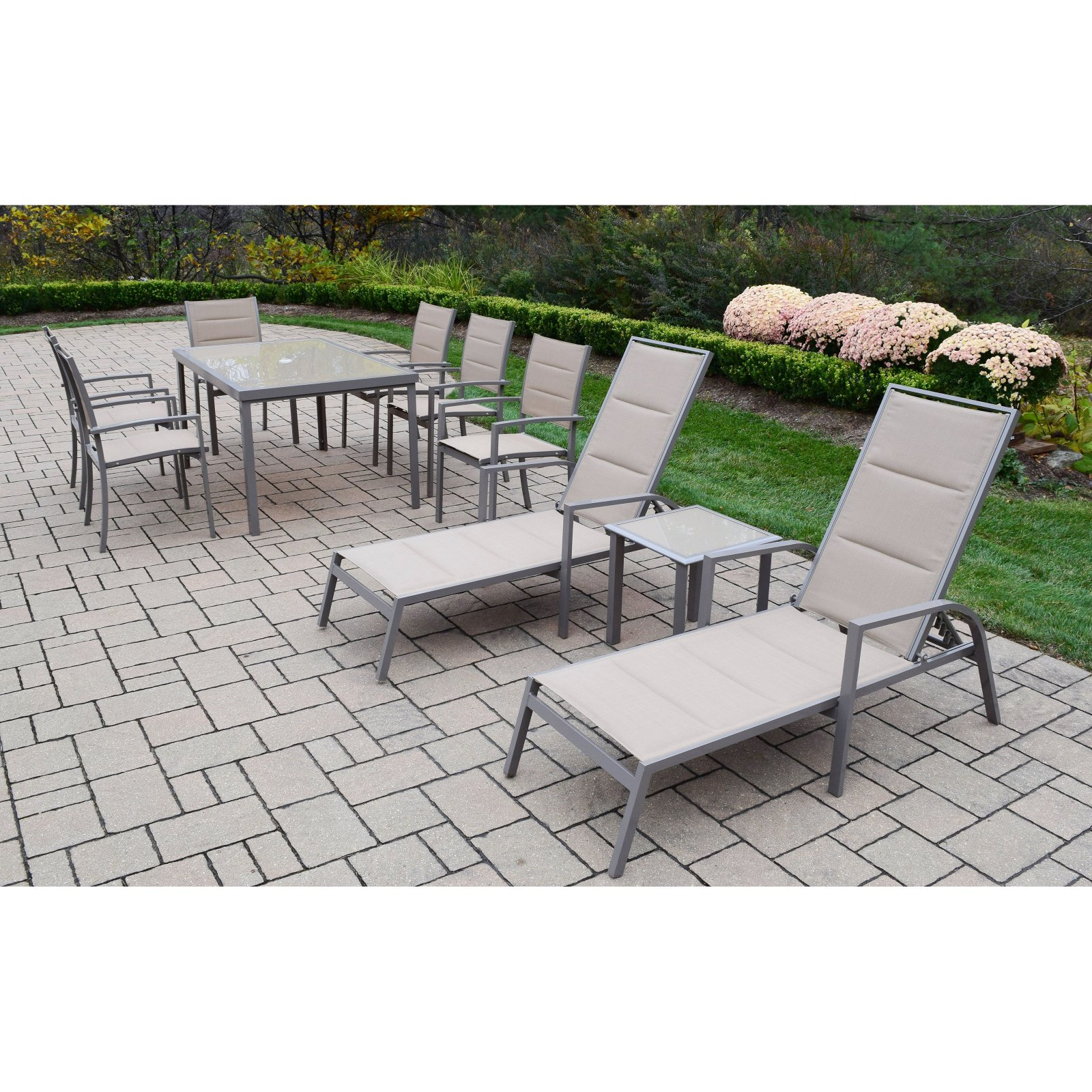Oakland Living Padded Sling Aluminum Patio Dining and Chaise Lounge Set with Optional Umbrella