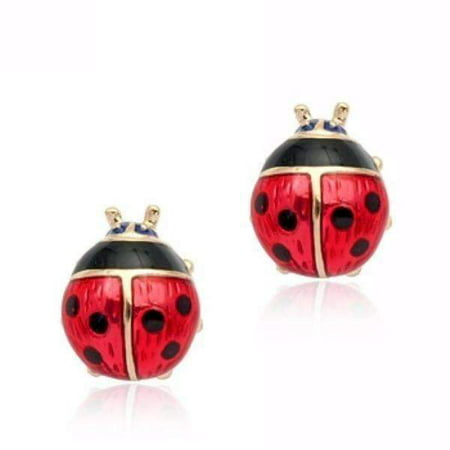 ON SALE - Delightful Red Enamel and Gold Lady Bug Stud Earrings Red