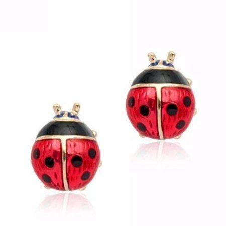 ON SALE - Delightful Red Enamel and Gold Lady Bug Stud Earrings - Ladybug Earrings